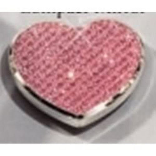 Elegance Silver Pink Glitter Heart Compact Mirror