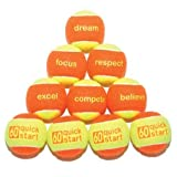 Oncourt Offcourt Quick Start 60″ Orange Tennis Balls with Slogans – Available in 36 and 72 Ball Bucket