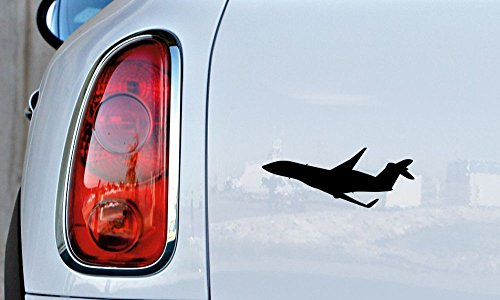 Airplane Silhouette Version 3 Car Die Cut Vinyl Decal Bumper Sticker for Car Truck Auto Windshield Wall Window Ipad Tablet Macbook Laptop Computer Home Custom and More (Black)