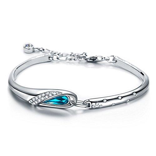 Ronglai Jewelry Love Heart Ocean Blue Crystal Bracelet for Women and Teens Sapphire Birthstone Charm Eternal Love Bangle (Glass Slipper Bangle)