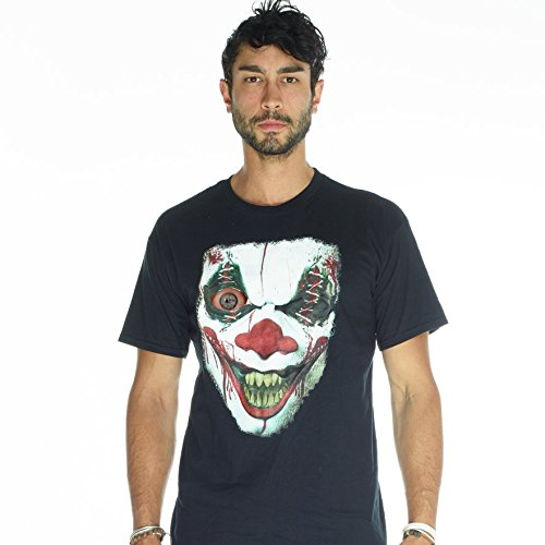 Digital Dudz Adult Unisex Moving Eye Demon Clown Digital T-Shirt | L | Black (How To Make A Scary Clown Costume)