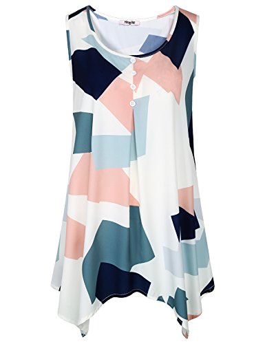 - Hibelle Work Blouses for Women, Junior Chiffon Tank Top Sleevelss Shirt Crew Neck Cool Flowy Geometric Print Crepe Tunic Semi Formal Drape Silky Clothing Color Block White Pattern XL