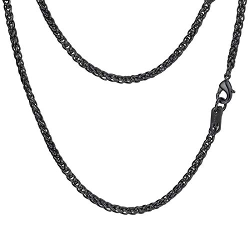 (PROSTEEL Black Wheat Braided Chain Link Necklace Stainless Steel 3mm Spiga Twisted Chain Choker Woven Chain Men Women Jewelry Gift)