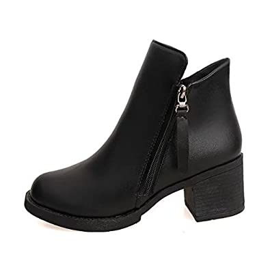 WYMBS Womens Shoes Rough with Autumn Winter Shallow Mouth Student Round Head Rough with Short Boots