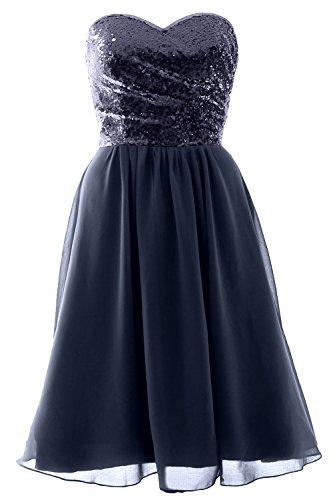 MACloth Elegant Strapless Short Bridesmaid Dress Sequin Chiffon Formal Gown Dunkelmarine 0VbUOLz