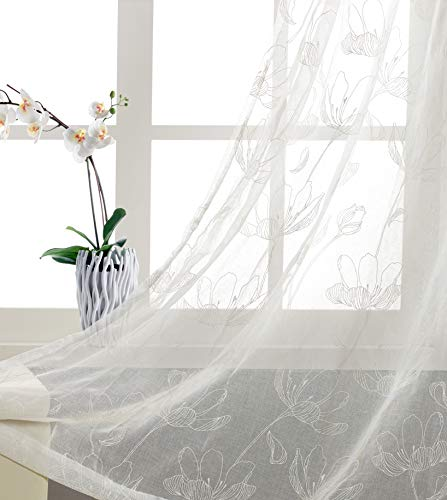 Nursery / kid's Bedroom Essential Sheer Curtains with White Disperse printing Floral Patterns with Abstract Buds and Petal Window Panels for Living Room Thin and Soft Grommet 84 inch Long - Room Sheer Essentials Window