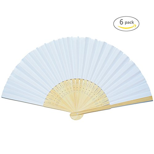 Shindel Handmade Paper Folding Fans Bamboo Hand Held Fan for Dancing Props Church Gift/ Wedding Party Favors,White,6 PCS