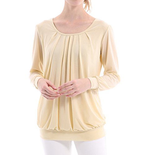 Milakoo Women's Long Puff Sleeve Scoop Neck Pleated Front Blouse Tunic Tops Size L Beige (Pleated Sleeve Top Puff)