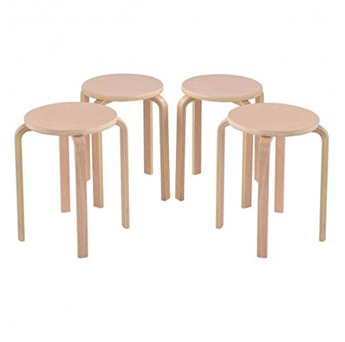 MD Group Dining Stools 4-Peice Birch Wood Stable & Durable Children Home Kitchen Chair