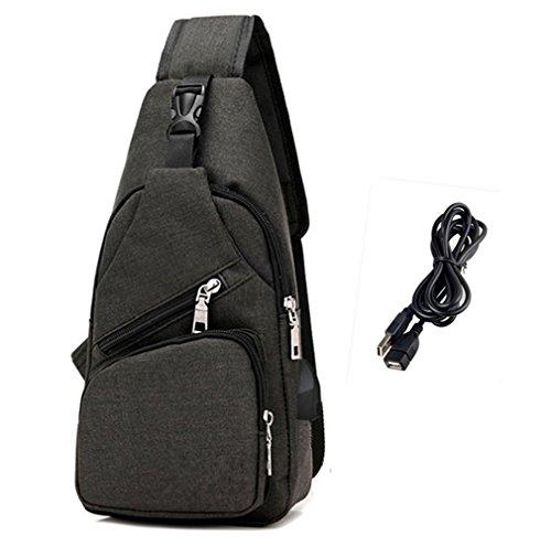 Sling Knapsack (Sling Bag Shoulder Crossbody Chest Backpack Men Women Unbalance Daypack for Travel/Hiking/Outdoor Sport (Black-S))