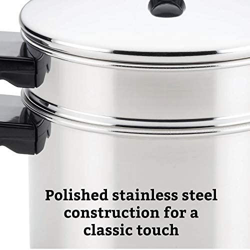 41TQNrRN6eL. AC Farberware Classic Series Sauce Pot/Saucepot with Steamer Insert, 3 Quart, Silver    Sauce it, boil it, steam it, and simmer it with the versatile Farberware Classic Stack 'N' Steam Stainless Steel Saucepot and Steamer. From lobster pot to soup pot, this multipurpose cookware combo can be used with or without the steamer insert, and boasts a full cap base featuring a thick aluminum core surrounded by stainless steel for rapid, even heating on any stovetop, including induction. Heavy-duty stainless steel is polished to a mirror finish for a classic touch and the stacking steamer pot is dishwasher safe and oven safe to 350°F.