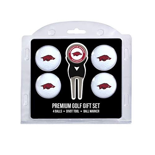 Team Golf NCAA Arkansas Razorbacks Regulation Size Golf Balls (4 Count) & Divot Tool with Removable Double-Sided Magnetic Marker (Golf Arkansas University State)