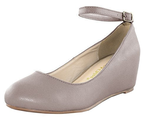 Wedge Strappy Mary Chloe Platform Pump Jane Chase Taupe Women's pwxBqEXpC