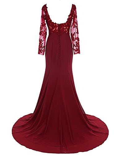 Dresstells®Vestido De Ceremonia Largo Mangas Largas Con Cola Escote Corazón Rojo Oscuro