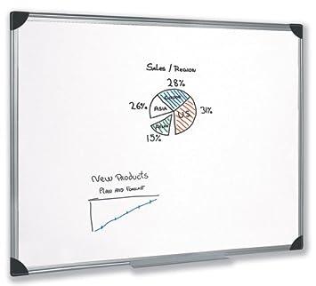 5 Star pizarra magnética de borrado en seco, con bandeja de rotuladores y marco de aluminio W1800 x H1200 mm