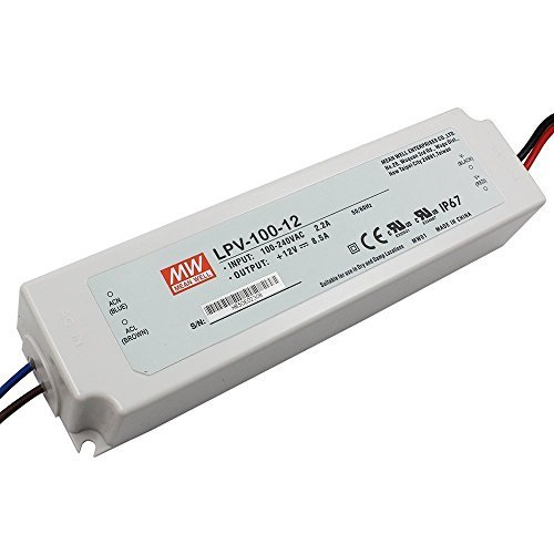 Mean Well LPV-100-12 100W Single Output Switching Power Supply with 8.5 Amp Rated Current and 12V DC Voltage