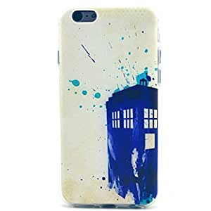 Iphone 6 Case, JAHOLAN Blue Watercolour Police Box Clear Bumper TPU Soft Case Rubber Silicone Skin Cover for iPhone 6 4.7Inch