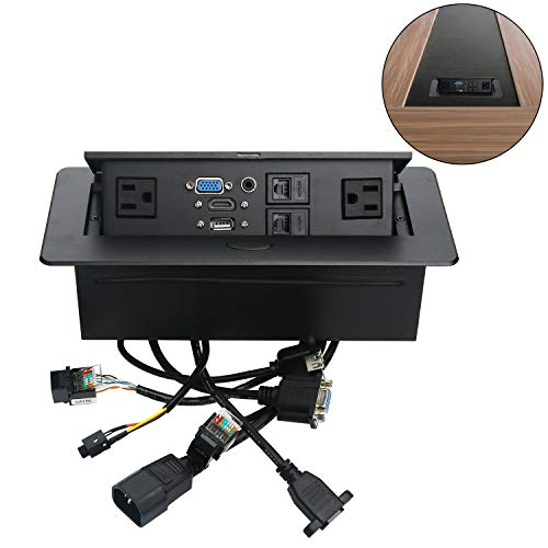 Table Pop Up Power Box-Conference Damped Multimedia Outlet Connection Box,Desktop Pop Up Socket with USB,HDMI,VGA,Audio and 2 Ethernet Port(CAT5E) (Powered Hdmi Wall Plate)