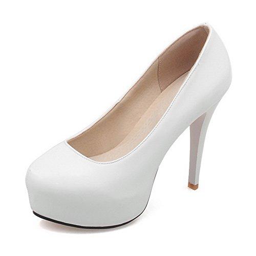 AgooLar Damen PU Rund Zehe Hoher Absatz Ziehen auf Rein Pumps Schuhe, Weiß, 40