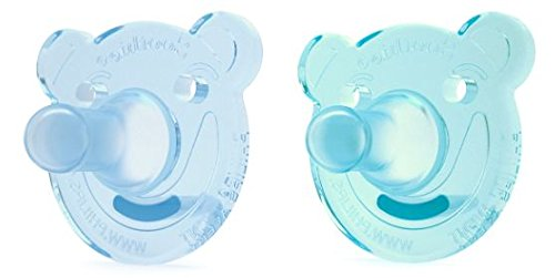 Philips Avent Soothie Pacifier, 0-3 months, Green/Blue, Bear Shape, 2 pack, SCF194/01 ()