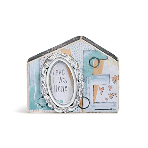 Demdaco Love Lives Here Patchwork Print Small Plaster Molded House Sculpture by Demdaco