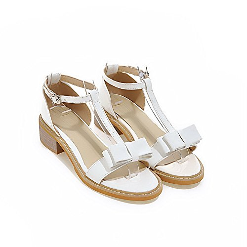 AgooLar Women's Low-Heels Solid Buckle Soft Material Open Toe Sandals White 4GzF2wE