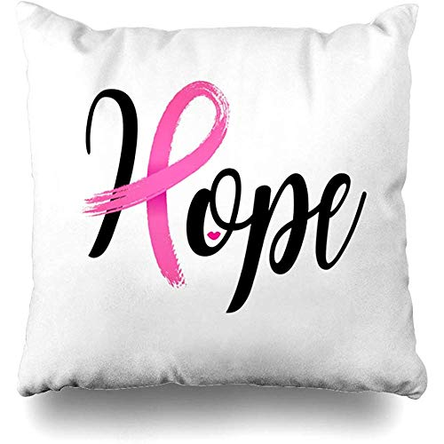 Throw Pillows Covers Pink Hope Lettering Design Breast Ribbon Brush Cancer Cushion Case Pillowcase Home Sofa Couch Square Size 18