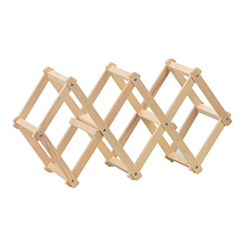 TREES · HOME Foldable Wood Wine Rack Wine Bottles Holder Shelves Free Standing Wine Racks Stand Storage Organizer Natural Wood-5 Slot