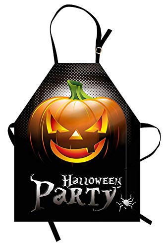 VCFUN Halloween Adjustable Bib Aprons, Halloween Party Theme Scary Pumpkin on Abstract Modern Backdrop Spider Women/Men Kitchen Apron with Extra Long Ties for Chef Cooking Baking, Small