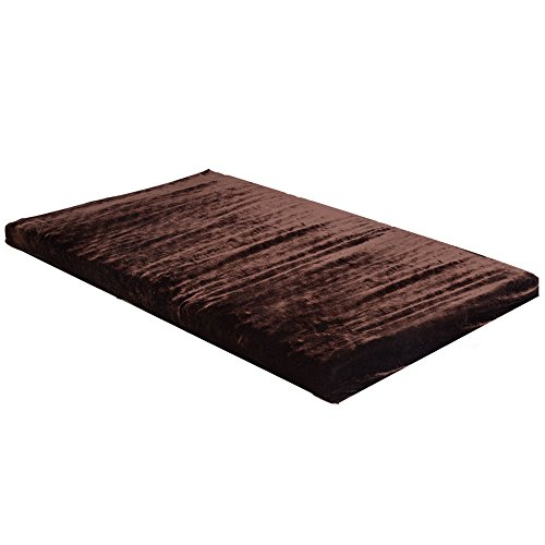 Fleece Brown 27' (New Fleece Foam Pet Bed Dog Cat Puppy Pad Mat Cushion w/Removable Cover Memory Large)