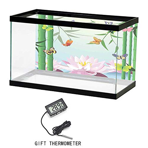 Fish Tank Backdrop Static, Butterflies, Butterflies on the Branch of Lotus Bamboo Flower Exotic Nature Mod Graphic Art Home, Multi, 24