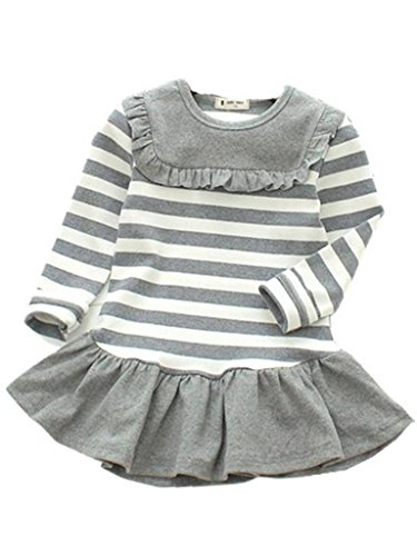 Happy Rose Little Girls' Dress Striped Flower Long Sleeve Grey Stripes 2 years