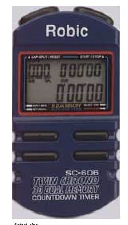 Robic SC-606 30 Dual Memory Stopwatch with Countdown - Memory Stopwatch Dual