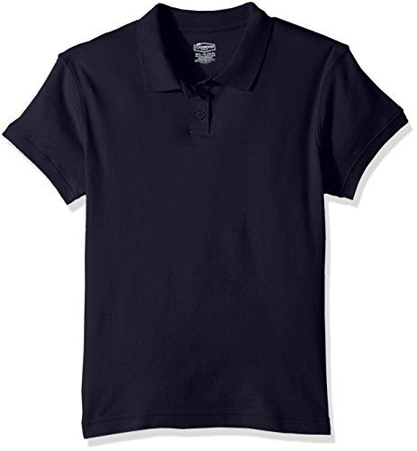 (Classroom School Uniforms Big Girls Short Sleeve Fitted Interlock Polo, sos Navy Blue, L )
