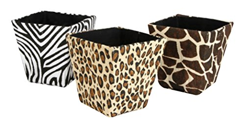 Darice DAR005ST48 Paper Bin, Rectangle, Animal Prints, 10'' x 6'' x 7.75'', 3 Assorted (Pack of 48) by Darice