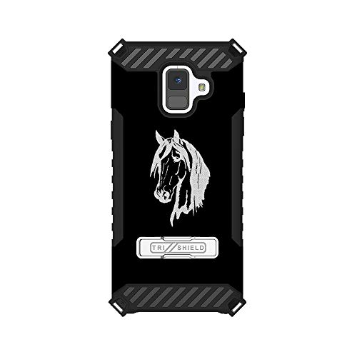 - Trishield Hybrid Case with Kickstand for Samsung Galaxy A6 by InfoposUSA Horse Head Silhouette