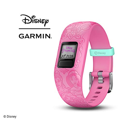 Garmin vvofit jr 2, Kids Fitness/Activity Tracker, 1-Year Battery Life, Adjustable Band, Disney Princess, Pink