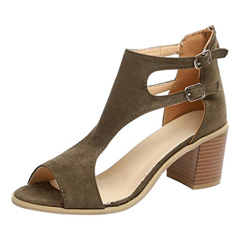 (TIFENNY Spring Summer Ladies Sandals Fashion Fish Mouth Hollow Out Buckle Roma Shoes Mid-Heeled Shoe Army Green)