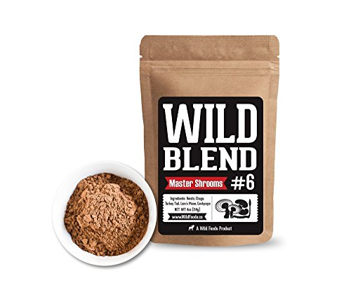 Wild Mushroom Blend of 5X Mushrooms Superfood Powder Blends for Smoothies, Shakes, Coffee, Baking - Health, Performance, Nootropic Mental Performance (Power Shrooms 4 oz) by Wild Foods