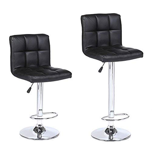 Mecor New Reinforced Design PU Leather Bar Stools-Adjustable Swivel Hydraulic Square Dining Chairs with Chrome Base, Set of 2, Black Review