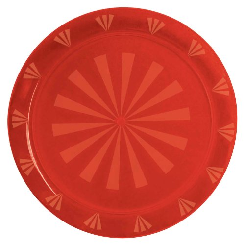 "Party Essentials N1601 Plastic Round Tray, 16"" Diameter, Red (Case of 12)"