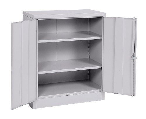 Gray Locking Storage Cabinet - Sandusky Lee RTA7001-05 Dove Gray Steel SnapIt Counter Height Cabinet, 2 Adjustable Shelves, 42
