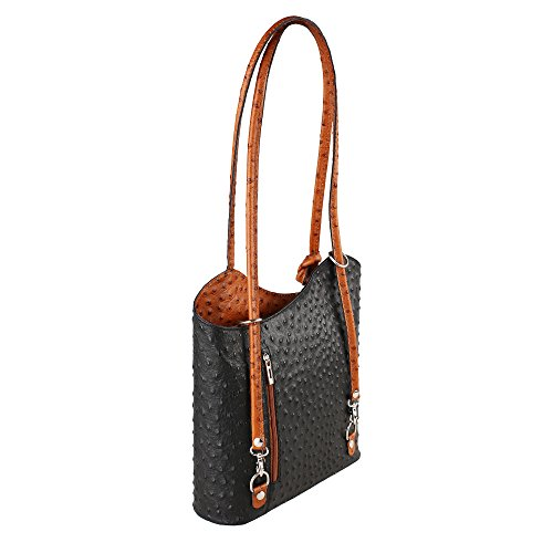 in Ostrich Cm 28x30x9 Tan Genuine Shoulder Black Borse Leather Made Bag Pattern Woman Chicca Italy in 8fpnqxCww