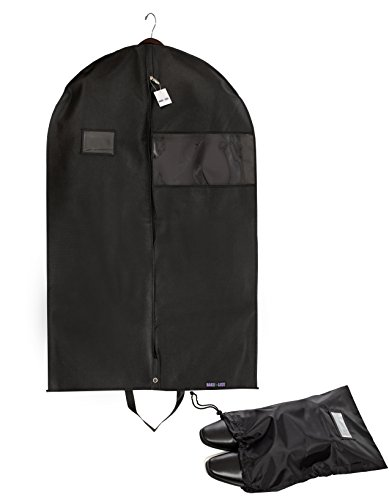 "UPC 757450210335, Bags for Less PREMUIM QUALITY Black Garment Bag +Shoe Bag. Travel And Storage Breathable Bag 26""x42""x5"" With Zipper & Metal Eyehole And Carry Handles For Folding For Suits, Tuxedos, Dresses"