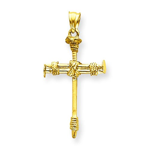 14K Yellow Gold Nail Cross Pendant Charm Jewelry 14k Yellow Gold Nail