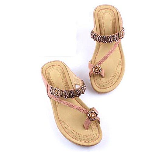 XIAOLIN サンダルとスリッパ女性夏のファッション韓国のビーチシューズ女性フラットヒールシューズスロープヒール女性サンダル(オプションのサイズ) (色 : 02, サイズ さいず : EU40/UK7/CN41)