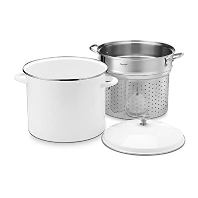 Cuisinart Chef's Classic Enamel on Steel 20-Quart Stockpot with Steamer Basket and Cover