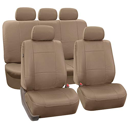 FH Group PU002TAN115  Beige Faux Leather Seat Cover (Full Set Airbags Compatible and Split Bench Cover)
