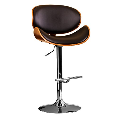 AC Pacific Modern Curved Frame Hydraulic Seat Adjustable 360-Degree Swivel Barstool Chair, 24 -32 , Black