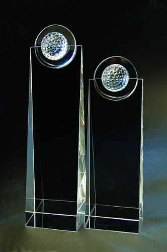 Crystal Golf Tower Award (Halo Golf Beveled Tower Crystal Trophy - Small)